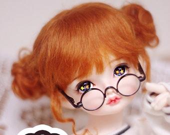 BJD Bridal Cute Carrot Red Odango Hair Mohair Wig for  1/3 SD 1/4 msd 1/6 yosd 1/8 lati yellow 1/12 lati white doll wig