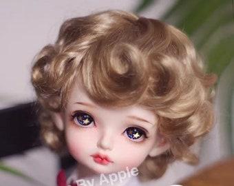 BJD Cute Light Brown Retro Short Curly Hair Imitation Mohair Wig for  1/3 SD 1/4 msd 1/6 yosd 1/8 lati yellow doll wig
