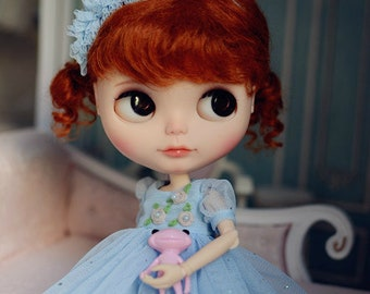 Stars in Your Dream Embroidery Flowers Lace Dress with Headdress for Blythe/Licca Doll - Blue