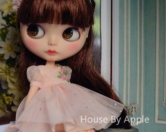 Stars in Your Dream Embroidery Flowers Lace Dress with Headdress for Blythe/Licca Doll - Pink