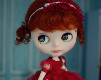 Stars in Your Dream Embroidery Flowers Lace Dress with Headdress for Blythe/Licca Doll - Red