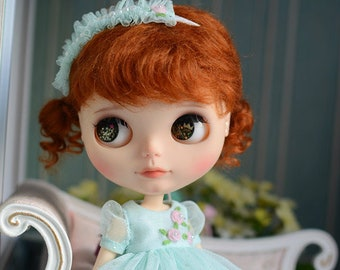 Stars in Your Dream Embroidery Flowers Lace Dress with Headdress for Blythe/Licca Doll - Green