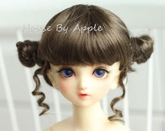 BJD Cute Dark Brown Double Bud head hair Imitation Mohair Wig for  1/3 SD 1/4 msd 1/6 yosd 1/8 lati yellow doll wig