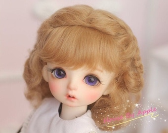 BJD Lovely Short Curly Double Braids Hair Light Brown Mohair Wig for 1/3 SD 1/4 msd 1/6 YOSD 1/8 Lati Yellow doll wig