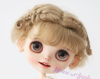 BJD Lovely Two Braids Plaits Hair Light Brown Mohair Wig for Blythe Wig Pullip Wig 9-10inch doll wig
