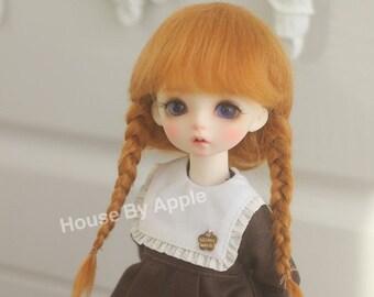 BJD Lovely Long Two Braids Plaits Hair Light Carrot Mohair Wig for  1/3 SD 1/4 msd 1/6 YOSD 1/8 Lati Yellow 1/12 Lati White doll wig