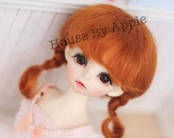 Bjd French Two Braids Plaits Hair Mohair Wig for 1/3 SD 1/4 msd 1/6 YOSD 1/8 Lati Yellow 1/12 Lati White pukipuki BF Pocket doll wig