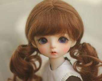 BJD Two Wavy Pony tail Hair Mohair Wig for  1/3 SD 1/4 msd 1/6 yosd 1/8 lati yellow doll wig 5-6 wig