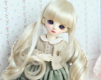 BJD Cute Light Gold long Pigtails hair Imitation Mohair Wig for  1/3 SD 1/4 msd 1/6 yosd imda3.0 1/8 lati yellow doll wig