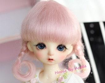 BJD Cute French Two Braids Plaits Hair Pink Mohair Wig for  1/3 SD 1/4 msd 1/6 YOSD 1/8 Lati Yellow 1/12 Lati White doll wig