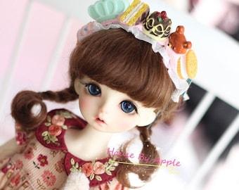 BJD Cute French Two Braids Plaits Hair Dark Brown Mohair Wig for  1/3 SD 1/4 msd 1/6 YOSD 1/8 Lati Yellow 1/12 Lati White doll wig