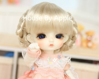 BJD Elegant Gold French Braided Updo Hairstyles Imitation Mohair Wig for  1/3 SD 1/4 msd 1/6 yosd 1/8 lati yellow 1/12 doll wig