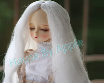 BJD White colour Long wavy hair high temperature heat resistant fiber wig with Silicone Headcap for  1/3 SD 1/4 msd 1/6 yosd doll wig