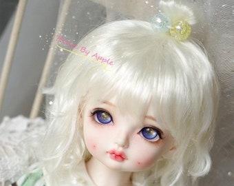 BJD Cute Cream White naturally curly hair imitation Mohair wig for  1/3 SD 1/4 msd 1/6 yosd 1/8 lati yellow wig