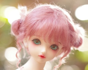 BJD Bridal Cute Dark Pink Odango Hair Mohair Wig for  1/3 SD 1/4 msd 1/6 yosd 1/8 lati yellow doll wig