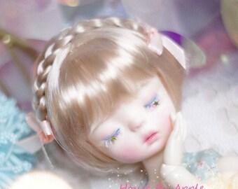 BJD Light Gold Cute Bob with Braid Hair Milk silk fabric Wig for  1/3 SD 1/4 msd 1/6 yosd 1/8 lati yellow FL pukifee doll wig