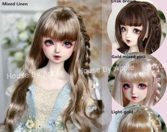 BJD Wig 4 colors Long Curly Single Braid hair for 1/3 SD 1/4 MSD 1/6 yosd doll wig Smart Doll