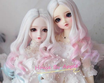 Hand Made BJD Multi Color gradient Long curls high temperature heat resistant fiber wig for 1/3 SD 1/4 msd 1/6 yosd doll wig