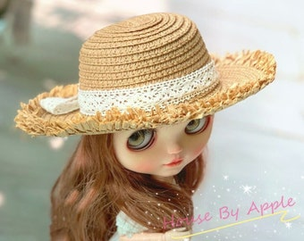 Lace Straw Hat for Blythe Pullip Salon Doll Vacation Style