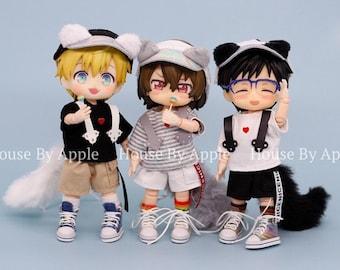 Obitsu11 Clothes 4pcs Cute Cat Set Pants Shirt Hat Tail set OB11 Molly P9 GSC 1/12 bjd dolls clothes 3 colors