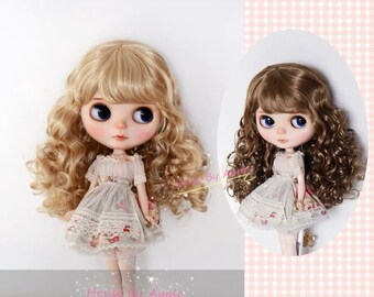BJD Blythe Wig Instant Small Wavy Curly Hair Imitation Mohair Wig for Blythe 9-10inch Pullip wig lovely Style Doll Wig