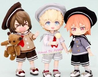 Obitsu11 Clothes 3pcs Hat Pants Shirt set OB11 Molly P9 GSC bjd dolls clothes 6 colors Sailor suit
