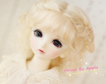 BJD Lovely Short Curly Double Braids Hair Light Gold Mohair Wig for 1/3 SD 1/4 msd 1/6 YOSD 1/8 Lati Yellow doll wig