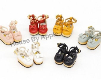 Lovely Two Bow shoes for OB11/Middie Blythe/GSC/Mico