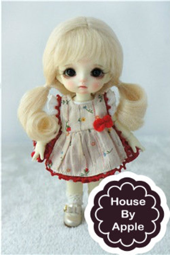 5 Colors Jus 8-9inch Doll Wig Two Pony Hair with Full Bang for SD 1//3 BJD Dolls