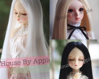 3 Colour - BJD Long Straight hair high temperature heat resistant fiber wig with Silicone Headcap for 1/3 SD 1/4 msd 1/6 yosd doll wig