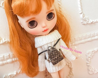 Fashion Doll Mini Luxury backpack  Handmade Doll Bag for Neo Blythe OB11 bag Holala 1/6 BJD Azone Doll Bag Outfit Custom Doll Accessories