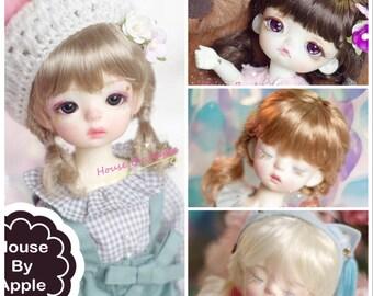BJD Cute Double Fishtail Hair (5 Colour) Imitation Mohair Wig for  1/3 SD 1/4 msd 1/6 yosd 1/8 lati yellow FL pukifee doll wig