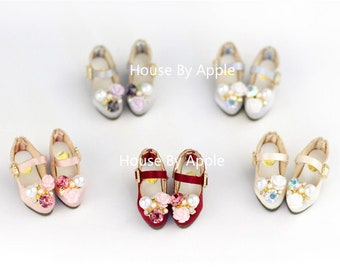 Silk Flower Bling Bling High heels Shoes doll shoes for Blythe/DAL/Pullip/AzoneS/momoko/Jerryberry/licca/Lati Yellow/OB24/OB11/Middie Blythe