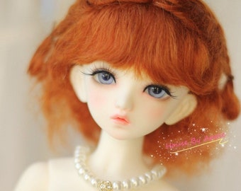 BJD Lovely Short Curly Double Braids Hair Carrot Mohair Wig for 1/3 SD 1/4 msd 1/6 YOSD 1/8 Lati Yellow doll wig