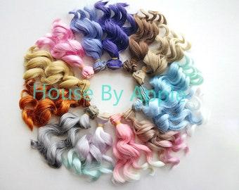 New Colour!Doll Hair Waves wefts for BJD/SD/Yosd/Barbie/Monster high/Blythe/LatiYellow doll making custom doll wig custom dolls DIY doll wig