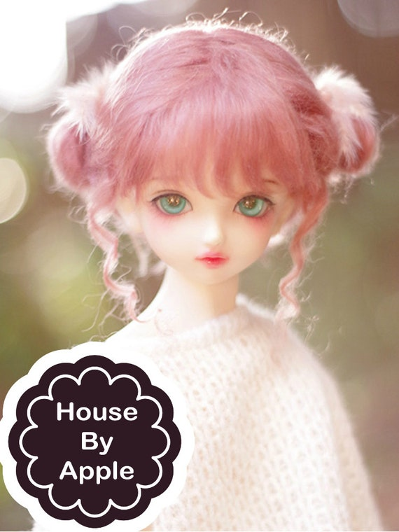 8 Doll Wig Long Curly Pink Fade BJD Ball Jointed Doll Size 6 9 NEW 7