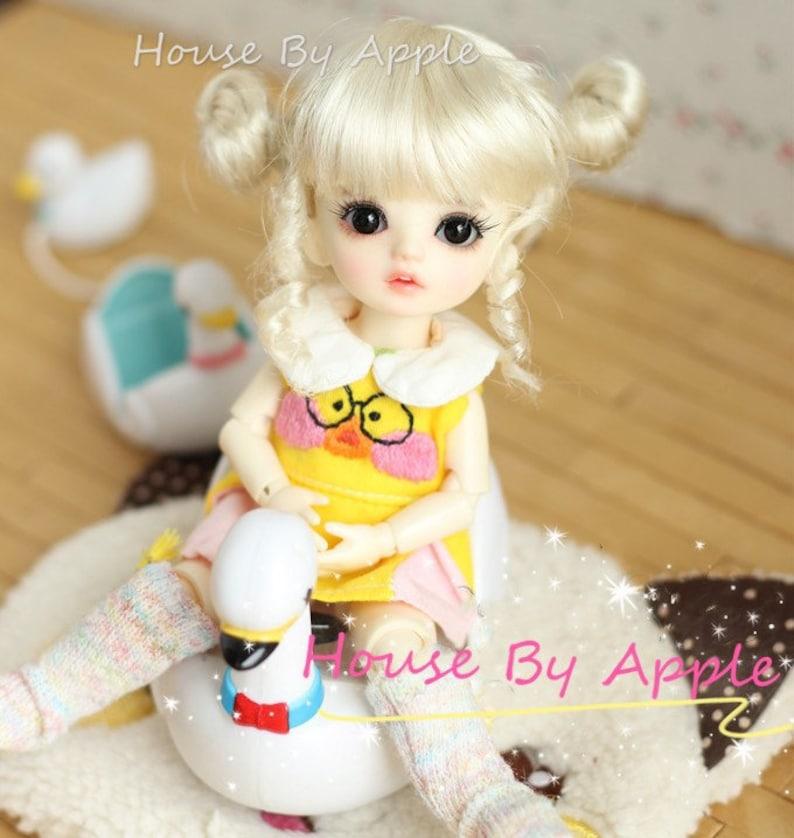 BJD Cute Blonde Double Bud head hair Imitation Mohair Wig for image 0