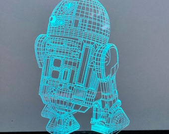 Star Wars R2D2 Clock 3D Chess Lamp