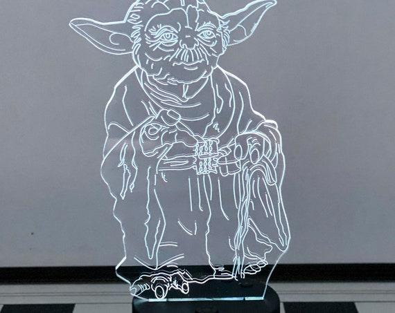 Star Wars Yoda Clock 3D Chess Lamp