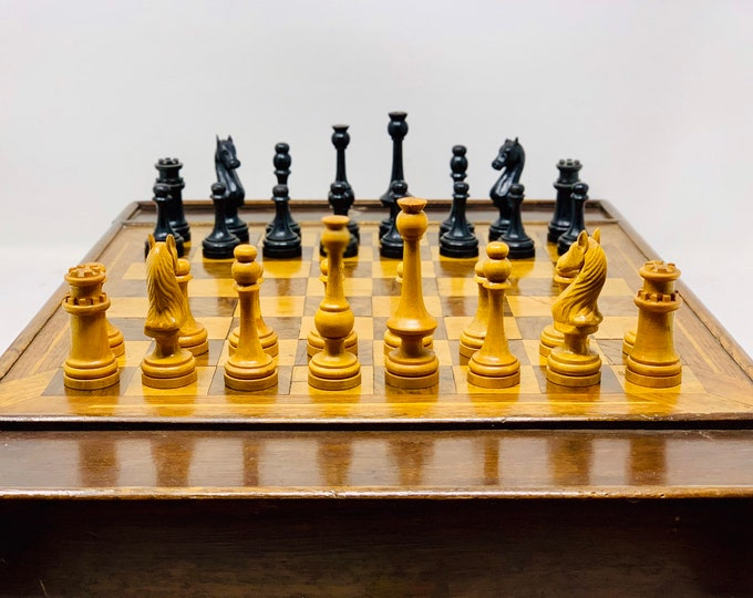 Featured listing image: Majestic Old Russian chess with board and box.
