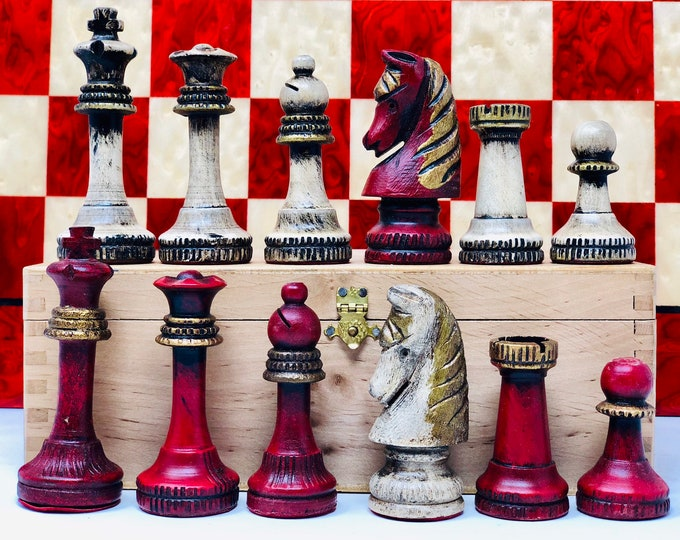 Featured listing image: Polychrome Escardibul Chess Pieces