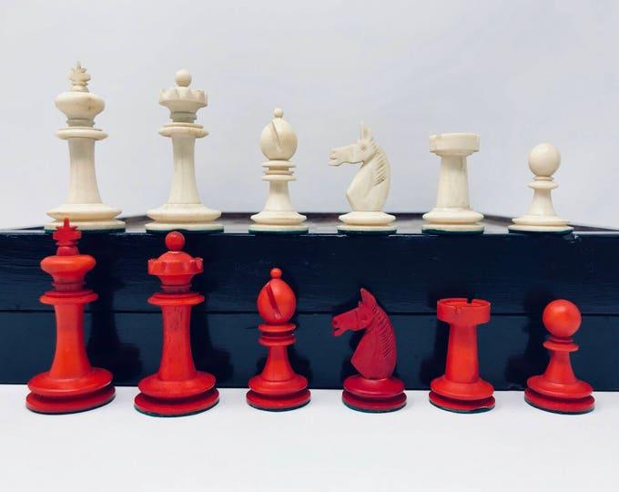 History Chess. KP German bone Uhlig with board