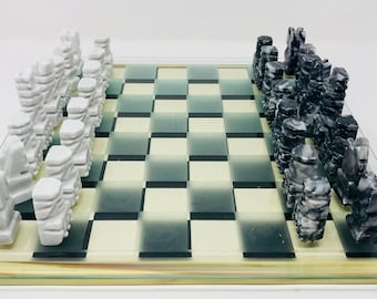 White Alabaster Chess Aztec Art