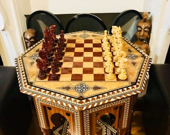 Marquetry chess table with Rosewood parts