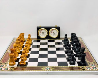 Ancient Spanish chess. Parts, board and clock