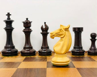Chess Staunton Club Bristol Rosewood with Antique Board