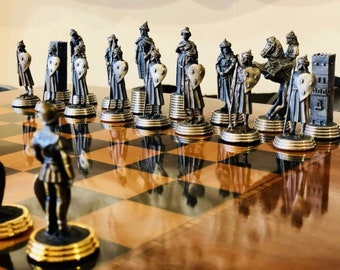 Chess Pieces Middle Age of Tin with Gold and Silver