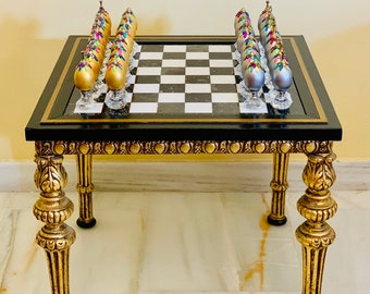 Dali-style Surrealist chess table