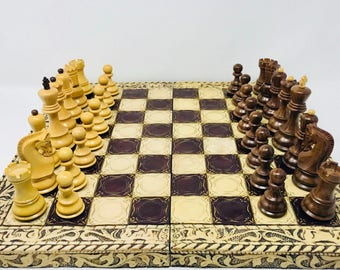 Soviet chess with decorated wooden board