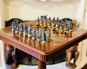 Middle Age Chess Pieces of Tin with Gold and Silver